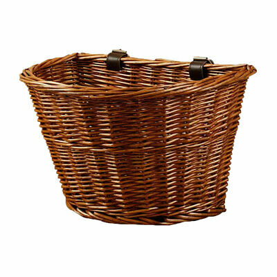 Vintage Wicker Bicycle Basket Front Handlebar Basket Bike Woven Cargo Container • 10.99£