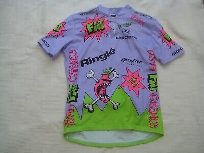 Vintage 1992 Giordana Team Fat Chance Ringle Purple Cycling Jersey - Size Large • 0.99£