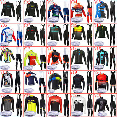 Winter Men Cycling Jersey Set Long Sleeve Thermal Fleece Bike Tops Bib Pants Kit • 25.99£