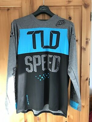 Troy Lee Designs Skyline Long Sleeve Jersey (Speedshop) Size - Large GREY/BLUE   • 9.50£