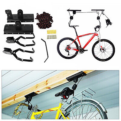 Bike Ceiling Hanger Lift Bicycle Storage Wall Mount Hook Roof Pulley Hoist Hang • 9.99£