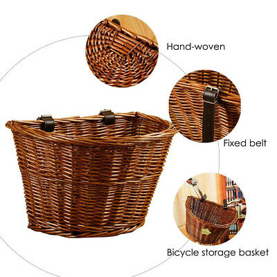 Wicker Basket Vintage Bicycle Front Handlebar Basket Bike Woven Cargo Container • 14.99£