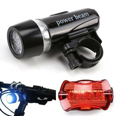 UK LED Mountain Cycle Headlight Batteries Bicycle Bike Front Rear Lights Set • 3.99£