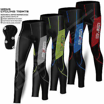 Mens Compression Cycling Tights Trouser Coolmax Padded Cycle Leggings Long Pants • 17.99£