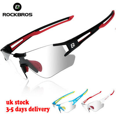 ROCKBROS Photochromic Cycling Sunglasses Running Sports Eyewear UV400 Glasses UK • 16.99£