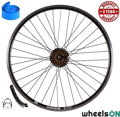 650b 27.5'' WheelsON Rear Wheel+7 Spd Shimano Freewheel QR Black 36H Double Wall • 43.88£