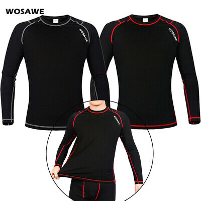 Winter Mens Cycling Jersey Base Layer Sports Tops Thermal Fleece Warmer Elastic • 12.62£
