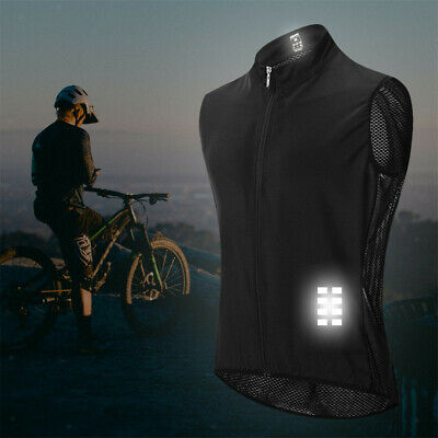 Fitness Full Zip Reflective Cycling Gilet Vest Running Motorcycle Waistcoat • 14.41£