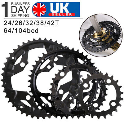 24/26/32/38/42t Double/Triple 10Speed 104/64mmbcd MTB Bike Chainset Chainring • 17.16£