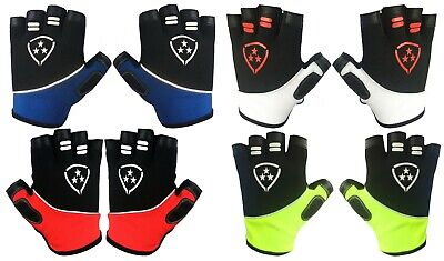 Men Cycling Gloves Bike Half Finger Bicycle Padded Finger Less Gloves • 5.99£