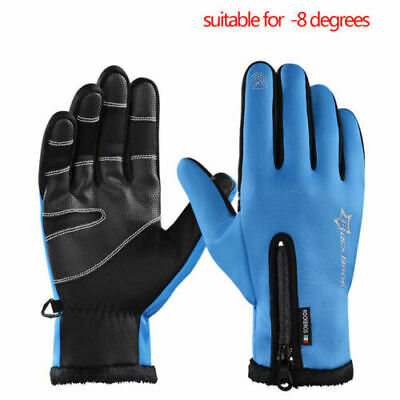 RockBros Cycling Fleece Thermal Windproof Full Finger Gloves Blue UK STOCK • 3.99£