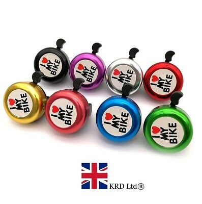 `I LOVE MY BIKE` BICYCLE BELL Hand Ring Cycle Horn Mountain Kids Road Safety UK • 4.60£