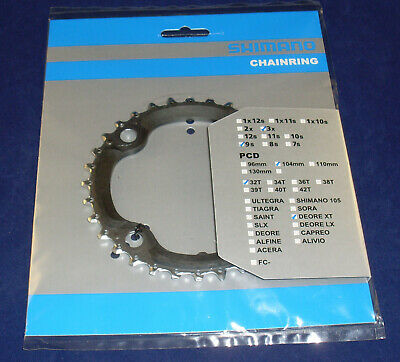Y1J198020 Shimano Deore XT FC-M770 9 Speed Middle Chainring 4 Bolt 104 BCD X 32T • 25.49£
