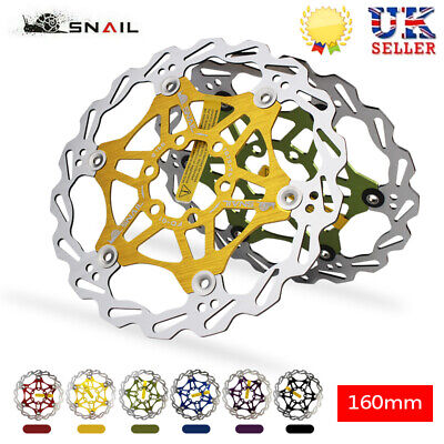 UK SNAIL Bicycle 160mm Rotor MTB Bike Disc Brake Floating Rotor 6 Bolts Rotor • 14.09£