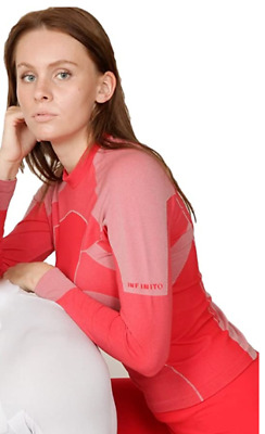 INFINITOITALY Womens Functional Shirt Base Layer Seamless Long Sleeve Red Size M • 14.99£