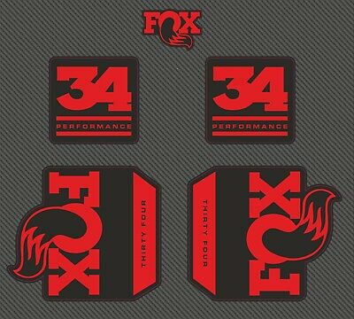 Fox 34 PERFORMANCE FORK FLOAT Stickers Decals Graphics Mountain Bike 2020 Red • 11.99£