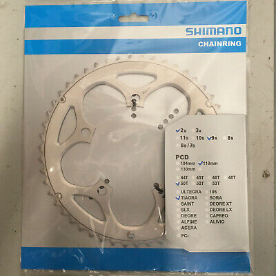 Bike Chain Ring Shimano FC4550 Tiagra Double Outer Silver 50T • 22.99£