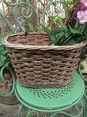 Vintage Wicker Shopping Basket For Raleigh Bike Bicycle Leather Straps D Shape • 30£
