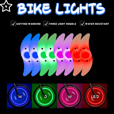 4/8 Pcs Bike Lights Multi-color Flashing LED Cycling For Tire Tyre Wheel Spoke • 5.59£