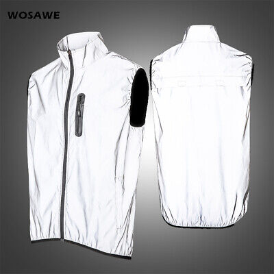 Mens Cycling Vest High Reflective Gilet Over Jacket MTB Road Bike Silver Night • 18.80£