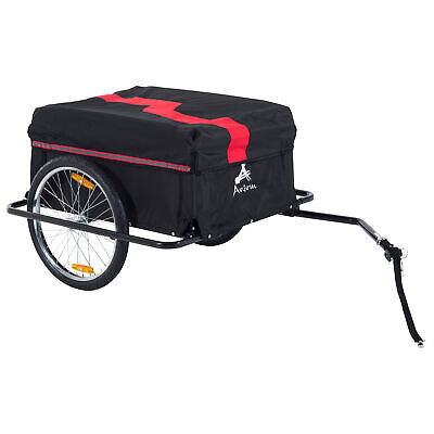HOMCOM Folding Bike Trailer Cargo Storage Carrier With Removable Cover And Hitch • 68.99£