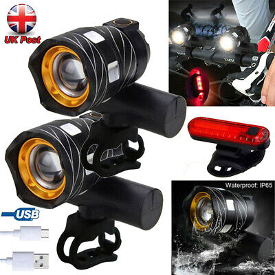 2Pcs 15000LM T6 LED MTB Bicycle Light Bike Rear Front Headlight USB Rechargeable • 16.59£