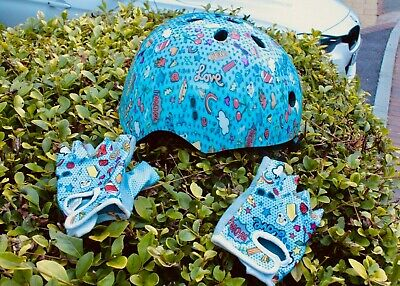 Kids Scooter Helmet And Gloves FUN PATTERN, GREAT CONDITION, LOW STARTING PRICE • 0.99£