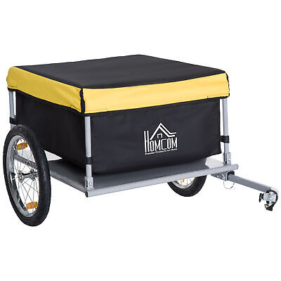 HOMCOM Bicycle Bike Cargo Trailer Cart Carrier Wagon Yellow And Black • 64.99£