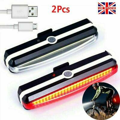 LED Mountain Bike Bicycle Front + Rear Lights Set USB Rechargeable Waterproof- • 7.59£