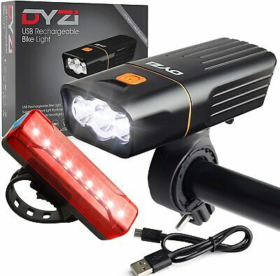 Dyzi Super Bright Bike Bicycle Lights Set Light Waterproof Fully Rechargeable • 22.69£