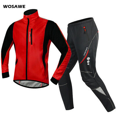 Thermal Cycling Sets Winter Sports Jacket & Pants Bike Fleece Warm Coat Snow Ski • 50.59£