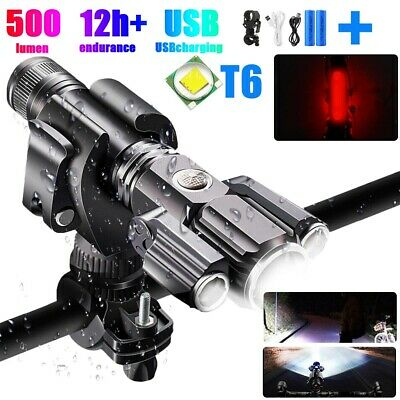 Rechargeable LED Mountain Bike Lights 18650 Bicycle Torch Front Rear Lamp Set • 11.99£
