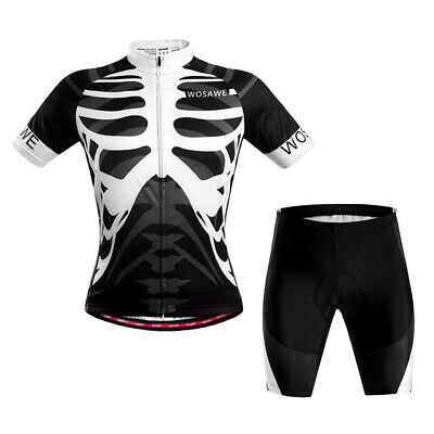 Mens Bike Padded Bicycle Set Short Sleeve Cycling Sports Jersey Shorts Suit • 25.82£