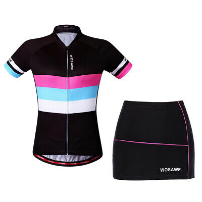 Women Cycling Short Sleeve Bike Shirts Gel Padded Shorts Skirts Quick Drying • 25.34£
