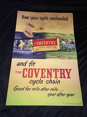 Large Vintage 1953 Colour Coventry Cycle Chain Advertising Poster Bicycle Bike • 50£