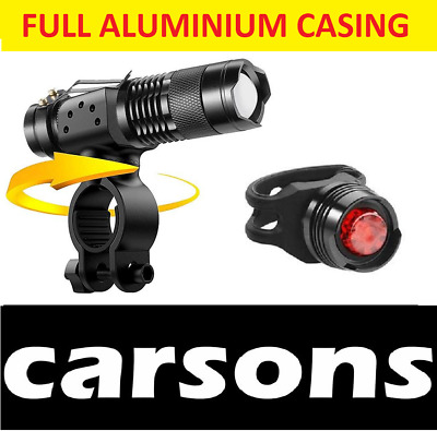Alloy Front Zoom & Rear Ruby Led Bike Lights Set For Road Mountain Bicycles BMX • 7.49£