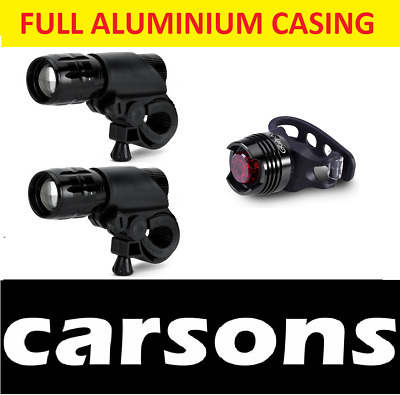 Two Front Lights & Rear Ruby Bike LED Light Set For Mountain Bicycles Bikes BMX • 9.25£