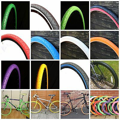 2 Of CURIO UK SLICK TYRES 26 X 2.10 COLOURED TYRES RED BLUE YELLOW BLUE • 18.49£