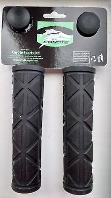 2 X 123mm Coyote Gel Black Grips Bar Bike / Cycle Handlebar Grips With End Plugs • 5.25£