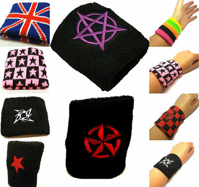 2X Sports Wrist Sweat Bands Wristbands Fitness Sweatbands Gym Tennis Logo Band • 4.99£
