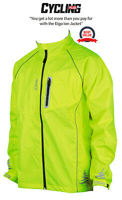 New Eigo Mens Waterproof Windproof Breathable Hi-vis Yellow Cycling Cycle Jacket • 34.19£