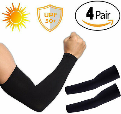4 Pairs UV Protection Cooling Arm Sleeve UPF 50 Sun Sleeves For Men Women Unisex • 4.59£