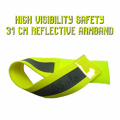 31cm Green Yellow High Visibility Safety Reflective Arm Band Cycling Running PPE • 3.83£