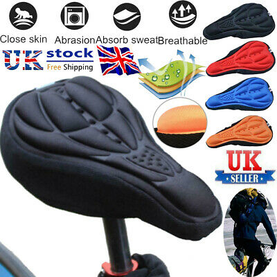 Bike Bicycle 3D Gel Silicone Saddle Seat Cover Pad Padded Soft Cushion Comfort • 2.80£