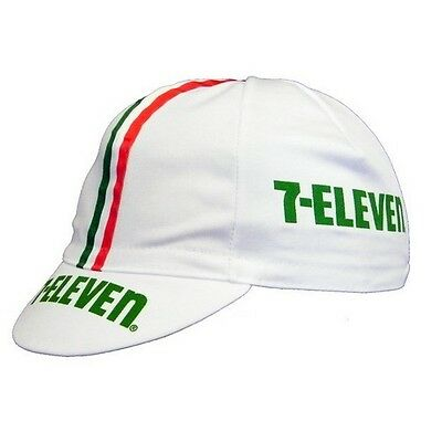 7 ELEVEN RETRO VINTAGE PRO CYCLING TEAM MADE IN ITALY BIKE SUMMER HAT CAP -White • 4.20£