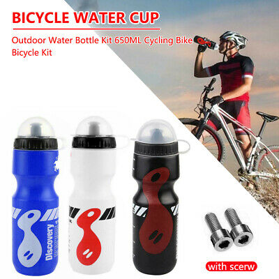 650ML Mountain Bike Bicycle Cycling Water Drink Bottle And Holder Cage Kit Sport • 5.99£