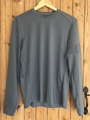 RAPHA Men's Blue Grey Textured Long Sleeve Technical Cycling T-Shirt Size Small. • 48£