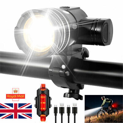 LED MTB Rear/Front Set 15000LM Bicycle Lights Bike Headlight USB Rechargeable UK • 8.99£