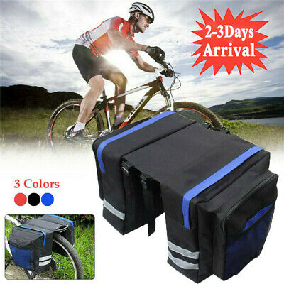 Double Panniers Bag MTB Mountain Bike Bicycle Cycling Rear Seat Trunk Rack Pack~ • 9.58£