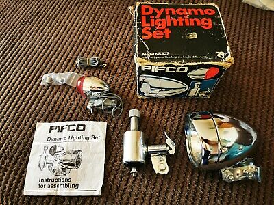 Vintage N.O.S Pifco Dynamo Bicycle Lighting Set Chrome Bike Lamps. • 65£